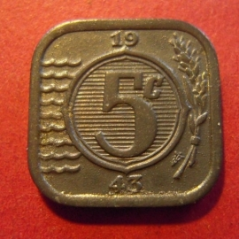 German occupation - 5 Cent 1943. Near Unc !!! Zn KM172 (7313)