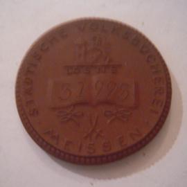 1923 Meissen , Lottery Public library token. Meissen Porcelain 42mm Sch821a - II (16102)
