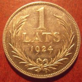 Latvia First Republic , 1 Lats 1924      KM7 (11317)