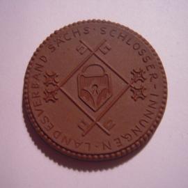 1924 Meissen , Landesverband Sächs.Schlosserinnungen. Max. 500 St. produziert !!  Meissen Porzellan 42mm Sch1986a - VIII (14906)