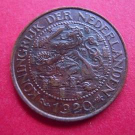 Wilhelmina - 1 Cent 1920. Xf+ !!! Bronze KM152 (3943)