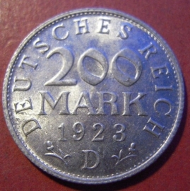 Weimar Republic - 200 Mark 1923 D. Al J304/KM35 (8545)