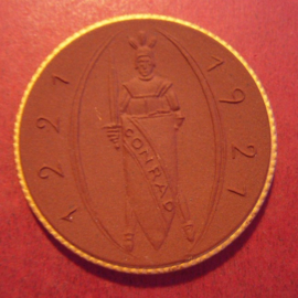 1921 Obercunnersdorf , 700 Jahre. Gipsform !!! Gold Dekor !!!  Meissen Porzellan 42mm Sch2175b - RR !!! (11072)