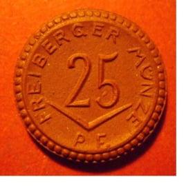 Freiberg , 25 Pfennig 1921 - ohne Kreuz. Meisen Porzellan 21mm Sch116a - III (8192)