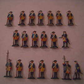 1760 Prussian infantry in reserve frontal , 20x flat 30mm scale. Herbu (15554)