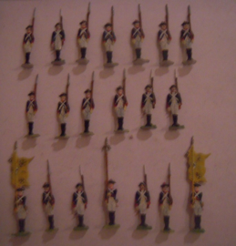 1760 Prussian infantry at reserve frontal , 20x flat 30mm scale.  Grünewald (15550)
