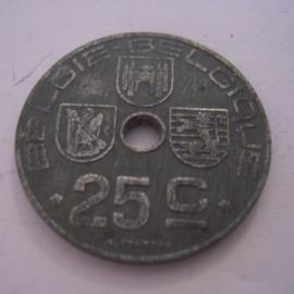 Belgium - Leopold III  , 25 Centimes 1945. Zn KM132 (15227)