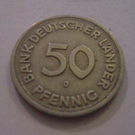Germany - BRD , 50 Pfennig 1949 D - Bank deutscher Länder.      J379/KM104 (14965)