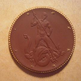 1930 Dresden , Deutsches Hygiene-Museum - St.Georg. Gold Dekor !!! Max. 500 Stück produziert !!! Meissen Porzellan 50mm Sch1356e - VIII (13600)