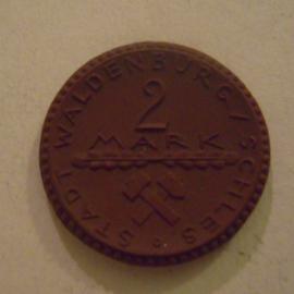 Waldenburg / Walbrzych (POL) , 2 Mark 1922. Meissen Porzellan 25mm Sch247a - V (13821)