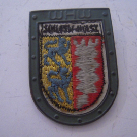 1936-10-17/18 German WHW donation pin. Border countries coat of arms - Schleswig-Holst.Woven fabric in metal frame - metal back !!! T049.1 (14365)