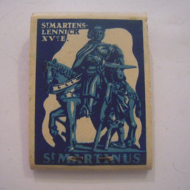 België Winterhulp donatie. Lucifermapje St.Martinus - St. Martens-Lennick - Verkocht ten bate van Winterhulp. Compleet ca. 37x48 mm T002a (15230)