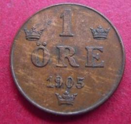 Oscar II  , 1 Öre 1905     KM750 (2971)