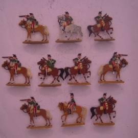1812  French light cavalry , 10x flat 30mm scale. Kieler Zinnfiguren (14328)