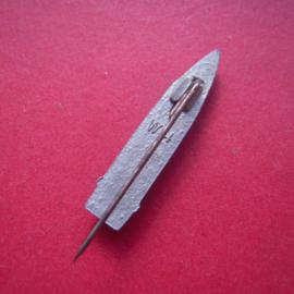 1940-11-2/3 German WHW donation pin. Ammunition - artillery grenade. Zinc T315 (6967)