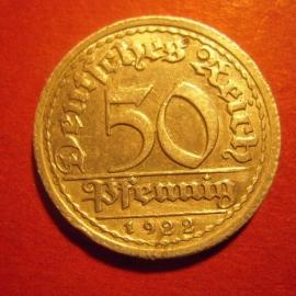 Weimar Republic - 50 Pfennig 1922 G. Al J301/KM27 (6296)