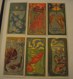 Old German collector cards - Fish , complete series , I - VI.  Stollwerk Chocolate album 4 , group 174 , 1900 - 1920's 92x48mm (15310)