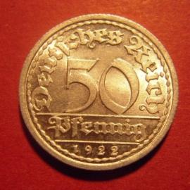 Weimar Republic - 50 Pfennig 1922 A. Near Unc !!! Al J301/KM27 (6288)