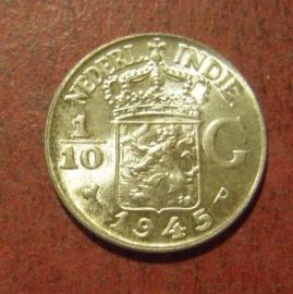 Wilhelmina  , 1/10 Gulden 1945 P     KM318 (11483)