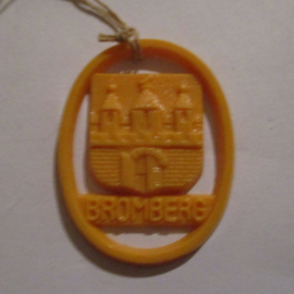 1941-06-14/15 German VDA donation gift. Coat-of-arms German border towns - Bromberg / Bydgoszcz (POL). Synthetic yellow/orange 37x28mm T117 (16274)