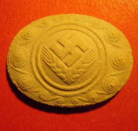 1933-1945 German RADwJ symbol - female youth.  Unglazed porcelain 35x26mm (9504)