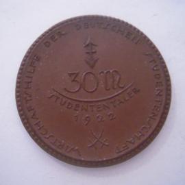 Berlin , 30 Mark 1922 - Wirtschaftshilfe der deutschen Studentenschaft. Meissen Porzellan 50mm Sch456a - IV (16045)