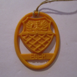 1941-06-14/15 German VDA donation gift. Coat-of-arms German border towns - Eger (HUN). Synthetic yellow/orange 37x28mm T120 (16277)