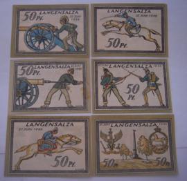 Bad Langensalza (Thüringen) , 6 x 50 Pfennig 1921 , Soldier series complete. GM770.3 (16034)