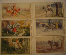 Old German collector cards - Cavalry complete series - I - VI , 6x Stollwerk Chocolate album 3 group 130 , 1900 - 1920's 92x48mm (15296)