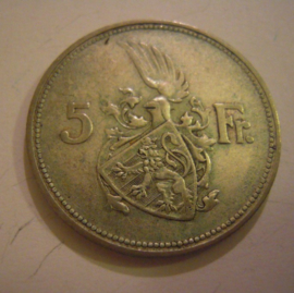 Luxembourg - Charlotte , 5 Francs 1929. Silver KM38 (15175)