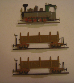 1800's Locomotive 90x50mm + 2x freight waggons ,flat 20mm scale. Sixtus Maier (15424)