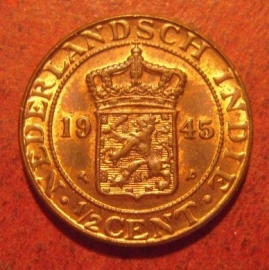 Wilhelmina  , ½ Cent 1945 P(hiladephia)    KM314  (11475)