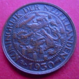 Wilhelmina - 1 Cent 1930. Xf !!! Bronze KM152  (3947)