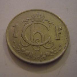 Luxembourg - Charlotte , 1 Franc 1952. CuNi KM46.2 (15174)
