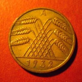 Weimarer Republik - 10 Reichspfennig 1932 A.  CuAl J317/KM40 (7080)