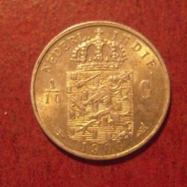 Wilhelmina  , 1/10 Gulden  1906    KM309 (11477)