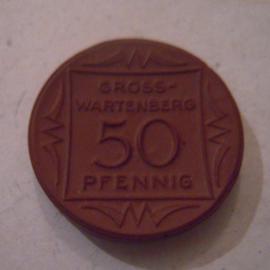 Gross-Wartenberg / Sycow (POL) , 50 Pfennig 1921. Meissen Porzellan 24mm Sch1359a - II (15866)