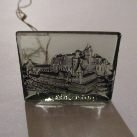 1942-09-19/20 German WHW donation gift. German monuments - Malbork Castle (POL). Glass blue 35x25mm T503 (16288)