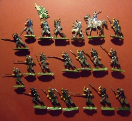 1870  Prussian infantry, 20x flat 30mm scale. Kieler Zinnfiguren (9970)