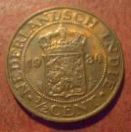 Wilhelmina , ½ Cent 1934     KM314.2 (11488)