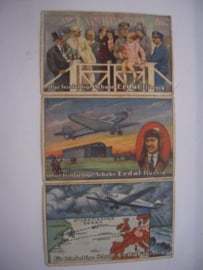 "Old German collector cards - Ocean crossing flight of the ""Bremen"" , 3x   Erdal - Kwak around 1920 , 110x70mm (15277)"