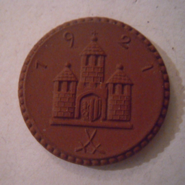 Freiberg , 1 Mark 1921 - mit Kreuz. Meissen Porzellan 28mm Sch123a - III (15861)