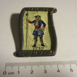 1938-02-5/6 German WHW donation pin. Uniform and history - 1710 Prussian Officer Infantry. Woven fabric in metal frame T110 (7042)