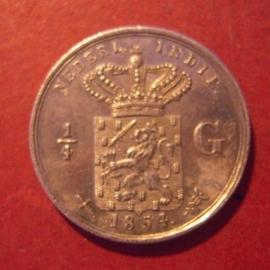 Willem III , ¼ Gulden 1854    KM305 (11818)