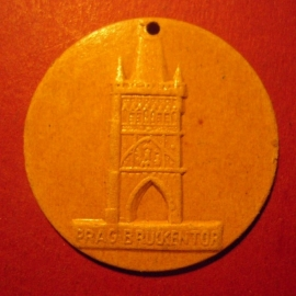 1942-06-27/28 German Red Cross donation gift. Famous city gates - Prague / Praha (CZE) - Brückentor. Fibreboard 38mm T236 (7512)