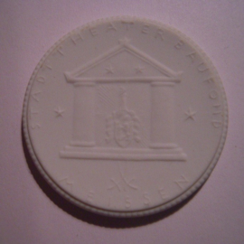 1922 Dresden , City theater building fund donation. Max. 500 pcs made !!! Meissen Porcelain 48mm Sch803n - VIII (14945)