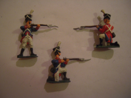 1815 Line infantry Napoleontic wars , 3x semi-flat 40mm scale with removeable heads (15264)