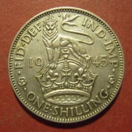 Great Britain - George VI , 1 Shilling 1945 (English crest)      KM853 (12074)