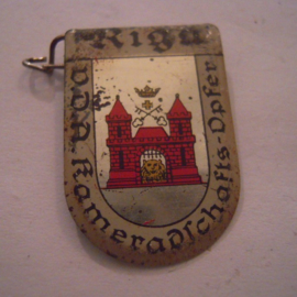 1934-39 German VDA donation pin. Coat of arms German cities abroad - Riga (LVA). Metal T062 (15946)
