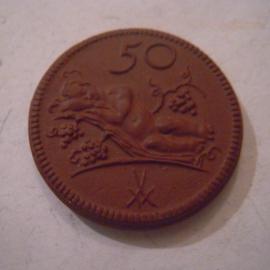 Münsterberg / Ziebice (POL) , .50 Pfennig 1922. Meissen Porzellan 28mm Sch205a - II (15867)